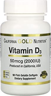 California Gold Nutrition Vitamin D-3 50 Mcg 2000 IU 90 Fish Gelatin Softgels, Egg-Free, Gluten-Free, Milk-Free, Peanut Fr...