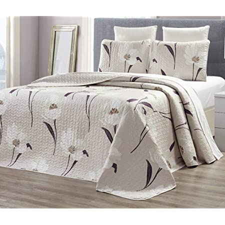 9096 inches ,Grey Plum Blossom Bedsure Quilt Set-Full//Queen Size