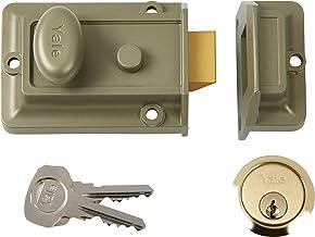 Yale Locks 77ENBPB nachtslot, geëmailleerd, nikkel, brons, 60 mm, doornmaat messing plaat