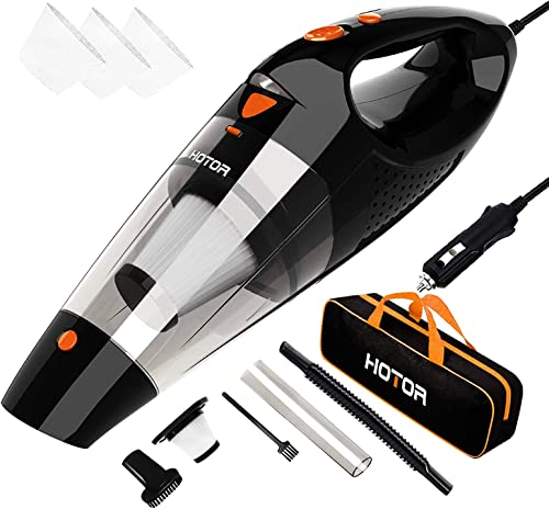 Car Vacuum, HOTOR Corded Car Vacuum Cleaner High Power for Quick Car Cleaning, DC 12V Portable Auto Vacuum Cleaner fo...