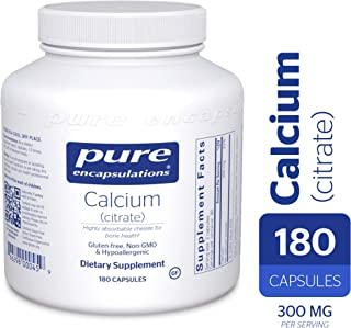 Pure Encapsulations - Calcium (Citrate) - Hypoallergenic, Highly-Absorbable Calcium Supplement - 180 Capsules