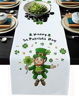 Irish Shamrock Cotton Linen Table Runner St.Patrick's Day Leprechaun Gold Coins Non-Slip Burlap Rectangle Tablecloth Decor...