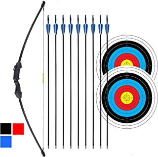 "iMay 45"" Recurve Bow and Arrows Set Outdoor Archery Beginner Gift Longbow Kit with 9 Arrows 2 Target Face Paper 18 Lb for ..."