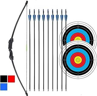 """iMay 45 """"Recurve Bow and Arrows مجموعه کیک باکیفیت کلاسیک شروع به تیراندازی در فضای باز با 9 فلش 2 هدف هدف 18 لوب برای نوجوانان"""