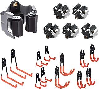 12 Pack Steel Garage Storage Utility Double Hooks Organizer,6 Mop Broom Holder Heavy Duty Wall Mount Tool Holder for Organ...