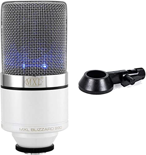 lowest MXL Mics 990 Blizzard Condenser Microphone with Blue LED Lights for Podcasting, Voice 2021 Overs, new arrival Studio Recordings sale