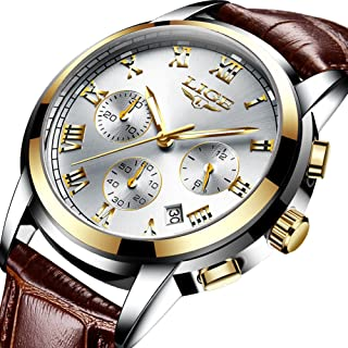 Mens Watches Fashion Stainless Steel Analog Quartz Watch Men Sports Waterproof Watches Chronograph Luxury Brand LIGE Casual Wrist Watch Gold Blue Date Clock