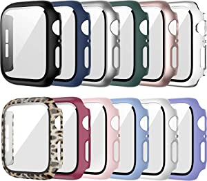 12 Pack Case for Apple Watch 38mm Series 3 2 1 with Tempered Glass Screen Protector, Haojavo Full Hard Ultra-Thin Scratch Resistant Bumper Leopard Protective Cover for iWatch Accessories