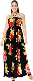 LA LEELA Women's Plus Size Tube Top Dresses Summer Swing Beach Dress Printed A