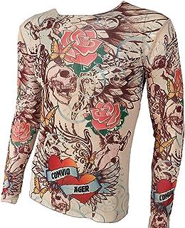 WanYangg Uomo T Shirt A Maniche Lunghe con Tatuaggi Allungare Traspirante Magliette Tattoo T Shirt Tatuata Tshirt Top