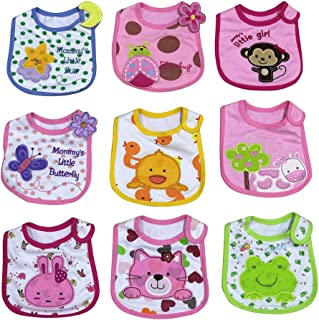 Baby Bibs Set for Boys Girls Water Proof Cotton with Velcro 9-Pack 5049G00