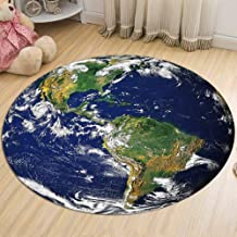 Earth Printing Carpet Flannel Bedroom Living Room Kitchen Corridor Round Rugs Non-Slip Wear-Resistant Durable,2,80cm