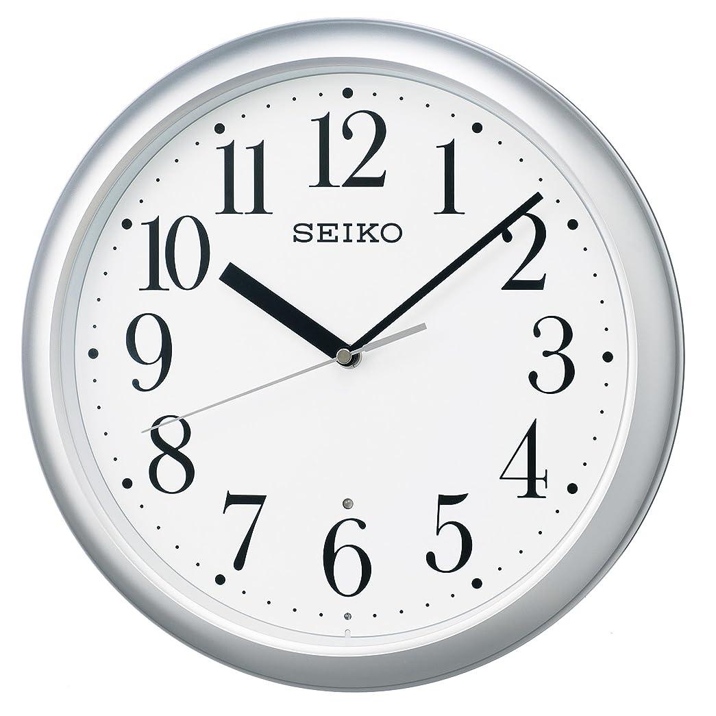 協定横に測るセイコー クロック 掛け時計 電波 アナログ 銀色 メタリック KX218S SEIKO