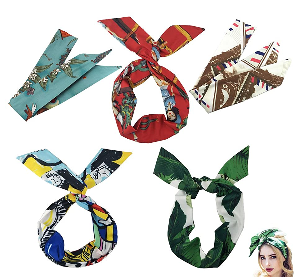 Boho Headband for Women Wire Wrap Floral Elastic Bunny Ears Adjustable Cute Fashion Hair Bands Tropical Hot Weather Summer Beach Holiday Vocation Banana Leaf Flower Cacti (Set A 5pcs)