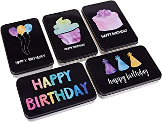 Set of 5 Small Tin Boxes - Small Tin Containers, Happy Birthday Tin Storage Containers for Gift Cards, Gift Giving, Keepsake Tin Box, Black - 5 x 0.7 x 3.2 Inches