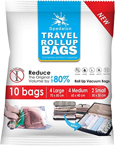 Travel Roll Up Bags - Pack of 10 (4 Large + 4 Medium + 2 Small) | Roll-Up Compression Storage | Double Zipper, Reusab...