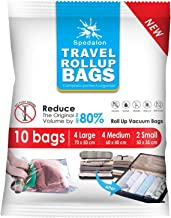 Travel Roll Up Bags - Pack of 10 (4 Large + 4 Medium + 2 Small) | Roll-Up Compression Storage | Double Zipper, Reusable Sp...