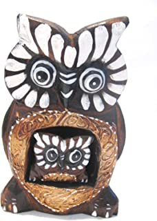 Wooden Owl Mom Baby Hand Carved and Hand Painted Wood Bali Home Decor Sculpture 6