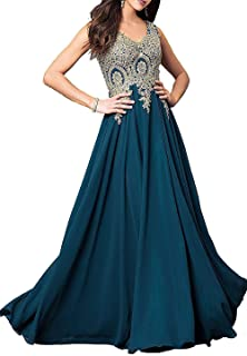 Women's V Neck Lace Appliques Prom Dresses Long Chiffon Formal Evening Gown