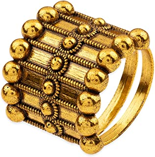 VOYLLA Rava Ball Adjustable Statement Ring for Women, Gold, 8905124135657