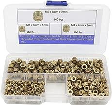 300-Pcs M3/ M4 /M5 Female Thread Brass Knurled Threaded Insert Embedment Nuts Assortment Kit