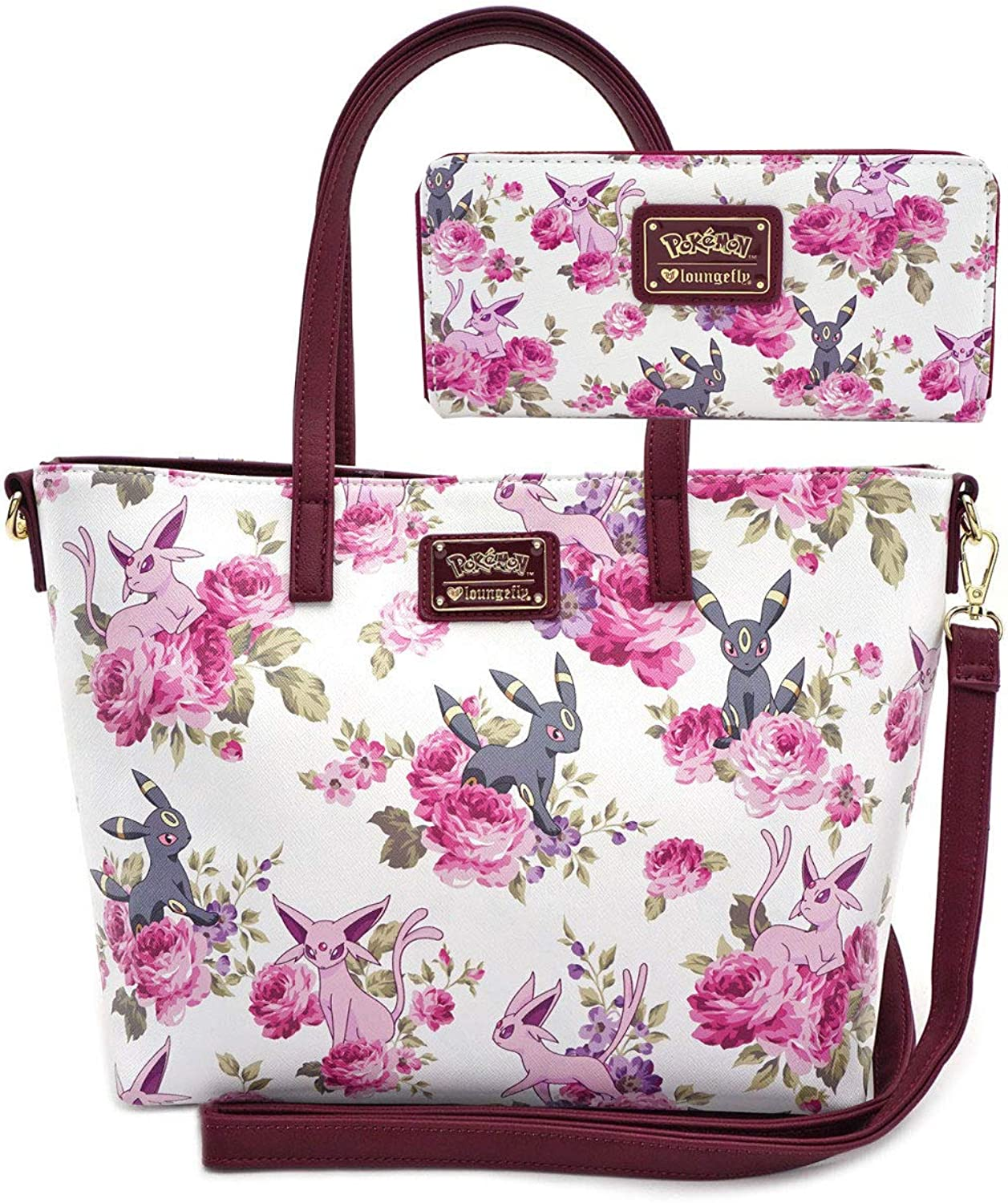 Loungefly Pokemon Espeon Umbreon Floral Print Tote Bag and Wallet Set