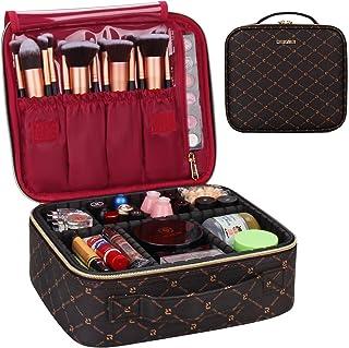 GOURDOLL Makeup Case Travel Makeup Train Bag Professional Cosmetic Makeup Brush Organizer Makeup Artist Box Double Layer a...