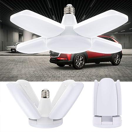 Vintoney Lampe LED de garage, 60W, 6500K 6000lm, plafonnier avec 4panneaux réglables, classe énergétique A++, pour les caves, les ateliers, et bien d'autres