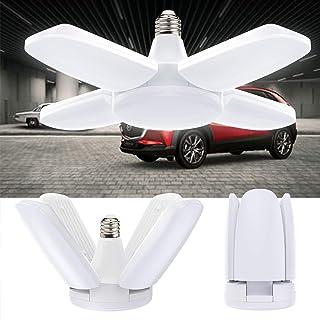 Lámpara de garaje, Vintoney LED para garaje, lámpara de trabajo, color blanco, 60 W, 6500 K, 6000 lm, lámpara de techo con 4 paneles ajustables para sótano, taller, garaje.[Clase energética A + +]
