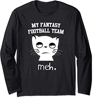 Funny Fantasy Football Cat Meh Draft Party League Gift Long Sleeve T-Shirt