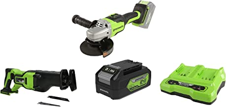 Greenworks Tools Amoladora angular inalámbrico GD24SAG + Batería sierra de sable GD24RS, 24V Li-Ion + Batería G24B4 2ª generación + Batería de doble ranura Cargador universal G24X2C