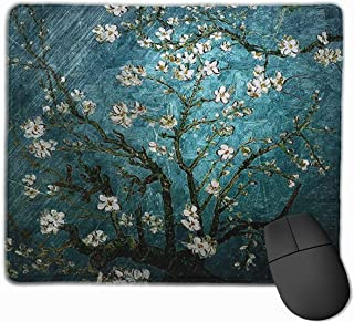 Mouse Pads Vincent Van Gogh Almond Blossoming Mousepad Mouse Pad Mat with Nonslip Stitched Edge Rubber Base for Gaming Com...
