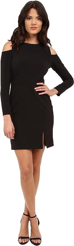 Long Sleeve Cocktail Dress w/ Seam Detail & Peekaboo Shoulder
