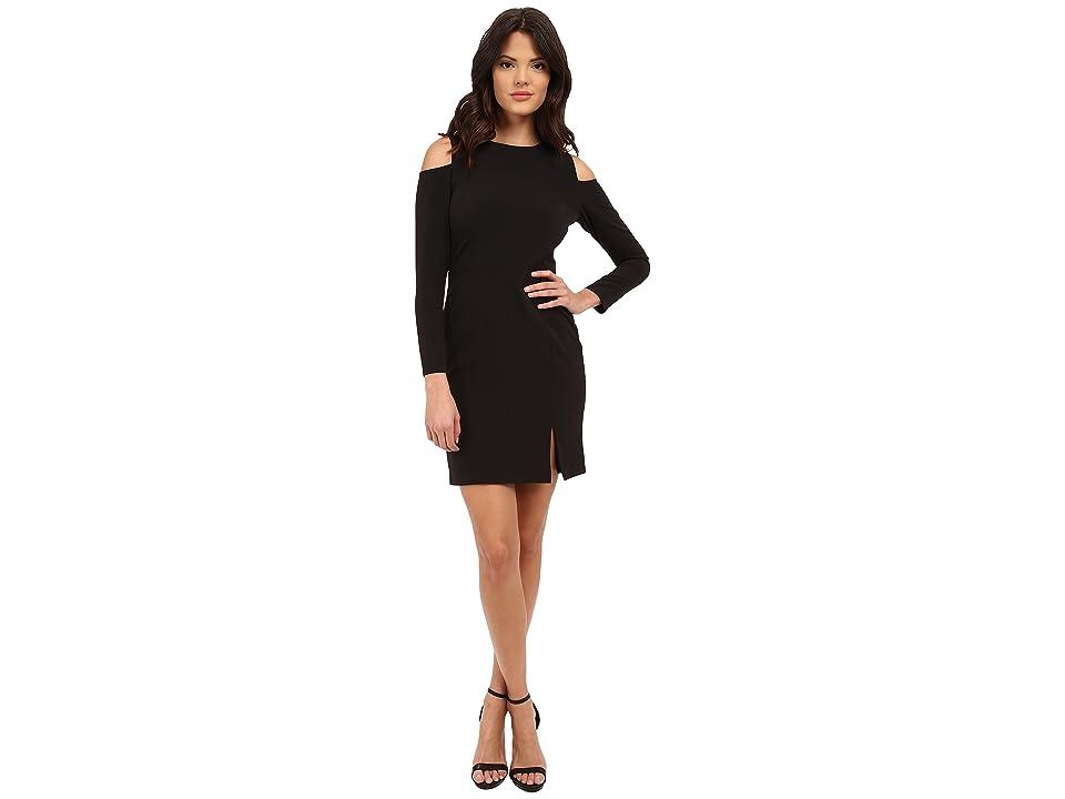 Aidan Mattox Long Sleeve Cocktail Dress w/ Seam Detail Peekaboo Shoulder (Black) Women