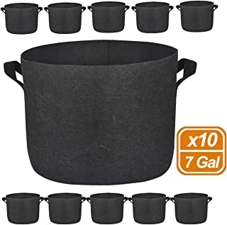 MEARTEVE 10 Pack 7 Gallon Premium Grow Bags, Heavy Duty Nonwoven Fabric Plants Pots with Handles, Indoor & Outdoor Grow Containers for Vegetables and Fruits