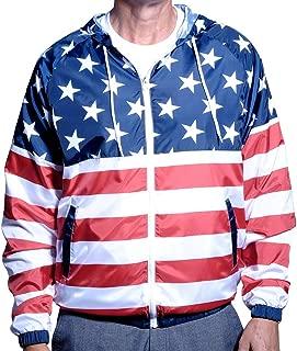 Mens Full Zipper Patriotic Hoodie Jacket