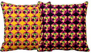 TheYaYaCafe® 20X20 inches Set of 2 Cushion Covers Pleasurably Pleasingly 3D Printed Sofa Throw Pillows Multicolor