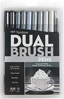 Tombow 56171 Dual Brush Pen Art Markers, Grayscale, 10-Pack. Blendable, Brush and Fine Tip Markers