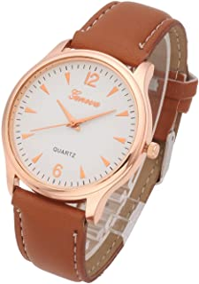 Top Plaza Mens Womens Analog Quartz Wrist Watch - Classic Casual Watch with Leather Band Large Face Arabic Numerals Dial