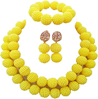 laanc Womens 2 Rows Colour Imitation Pearl Plastic Ball African Beads Nigerian Gift Wedding Jewelry Sets