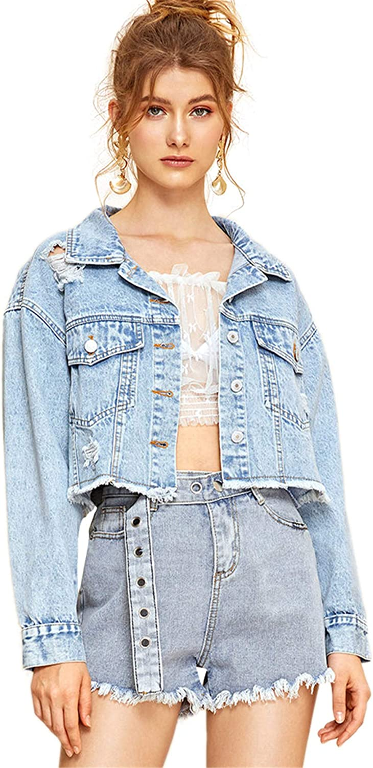 SOLY HUX Women's Puff Max 71% OFF Long Dealing full price reduction Sleeve Crop Down Denim Hem Button Raw
