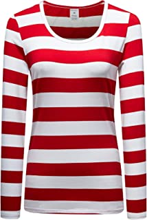 Women's Long Sleeve Striped T-Shirt Scoop Neck Cotton Tee