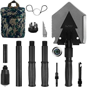 iunio Folding Shovel, Survival Multitool, Foldable Entrenching Tool, Portable Collapsible Spade, Off-Roading E-Tool Kit, for Camping, Backpacking, Trenching, Car Emergency