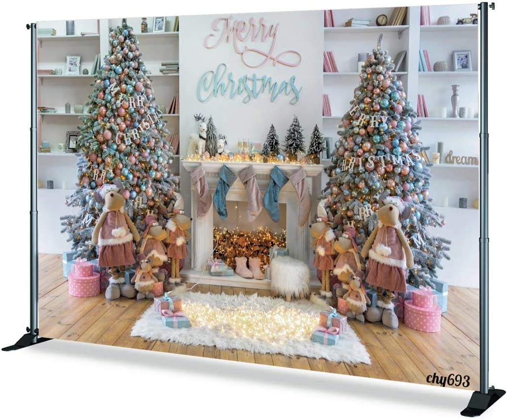Levoo Christmas Tree Background Banner Photography Studio Birthday Family Party Christmas Day Celebration Photography Backdrop Warm Home Decoration 5x5ft,chy694