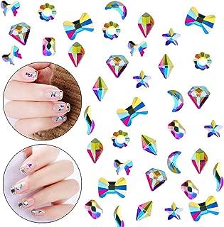100pcs Ultra Sparkle&Shine AB Crystal Bead 10 Mixed Sizes Moon Star Butterfly Gold FlatBack Rhinestones Gems Pearls for 3D Nail Art Beauty Design DIY Crafts-LONG LASTING AB SHINE Like Swarovski(Pack2)