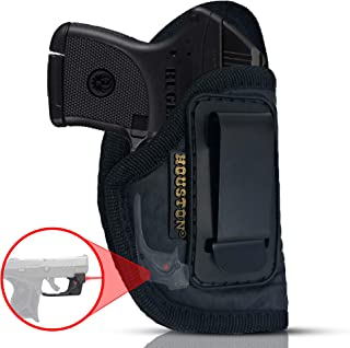 IWB Gun Holster by Houston - ECO Leather Concealed Carry Soft Material   Suede Interior   Fits: Any Small .380 with Laser, Keltec, Diamond Back, Small 25 & 22 Cal