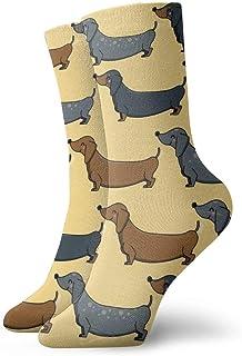 tyui7, Calcetines de compresión antideslizantes para perros de salchicha de dibujos animados Calcetines deportivos acogedores de 30 cm para hombres, mujeres y niños