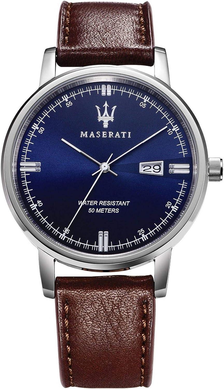 Reloj para Hombre, Colección Eleganza Maserati, Movimiento de Cuarzo, Solo Tiempo con Fecha, en Acero y Cuero - R8851130003