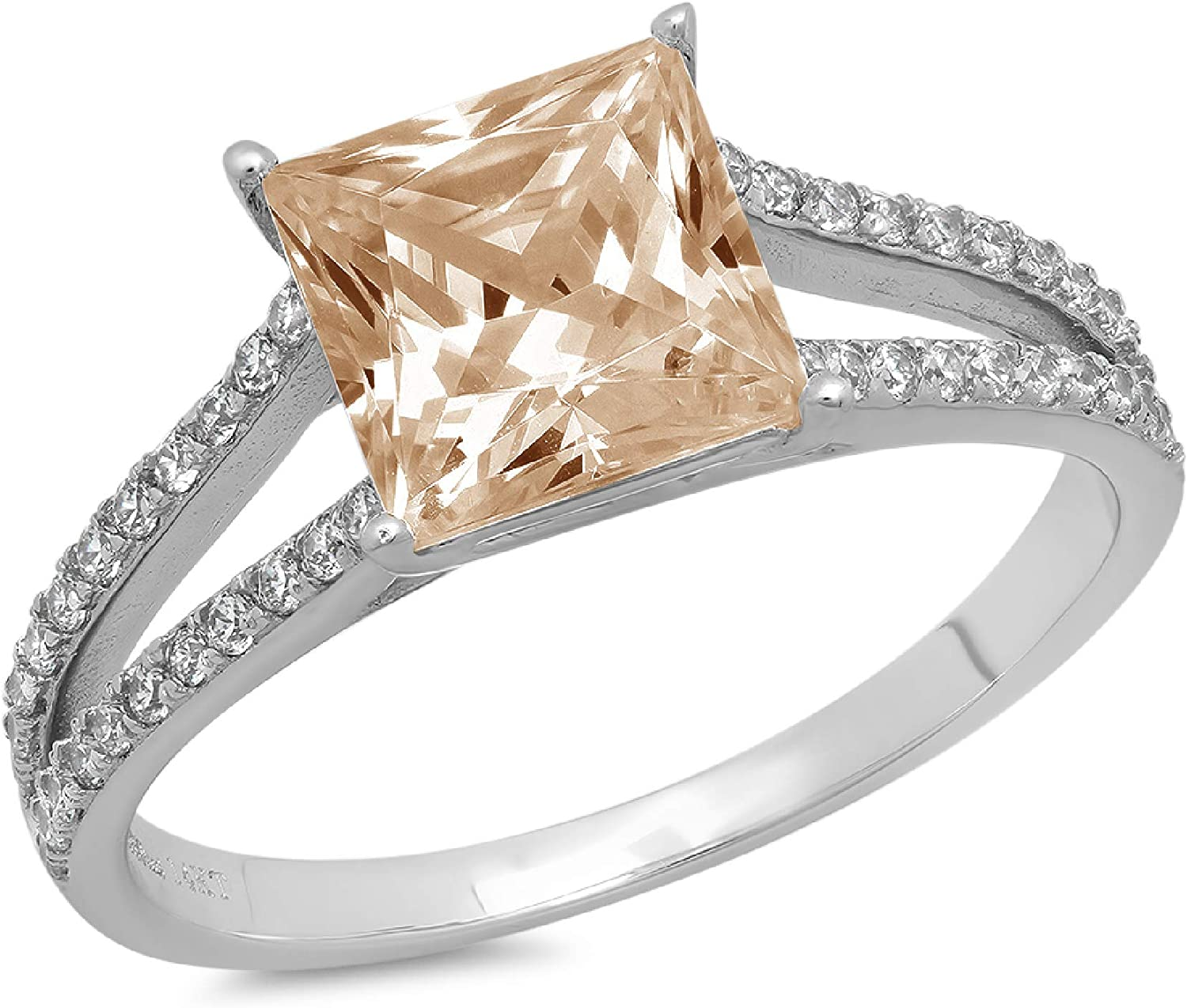 2.36ct Princess Cut Solitaire with Accent split shank Brown Champagne Ideal VVS1 Simulated Diamond CZ Engagement Promise Statement Anniversary Bridal Wedding Ring 14k White Gold