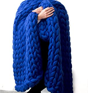 Chunky Knit Blanket,Arm Knit Throw,Merino Wool Blanket,Royal Blue Super Chunky Blanket,Handmade Blanket 40x79in Home Decor